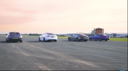 DRAG RACE TESLA P100D VERSUS AMG GT 4, M5 A PANAMERA TURBO S