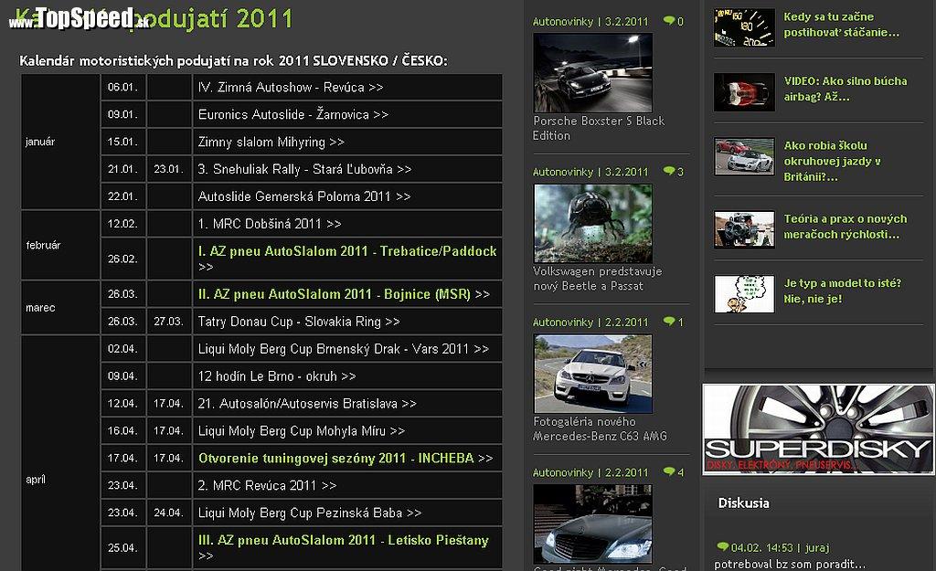 Motoristický kalendár 2011 TopSpeed.sk