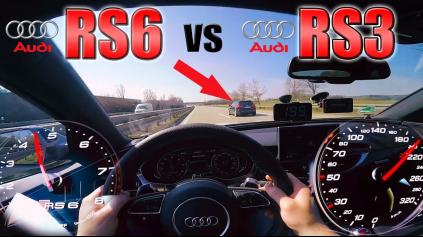 AUDI RS6 PERFORMANCE NAHÁŇA UPRAVENÚ RS3 NA AUTOBAHNE