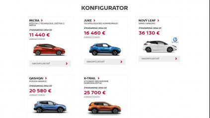 Konfigurátor Nissan je jednoduchý, prehľadný a v rámci možností skvelý
