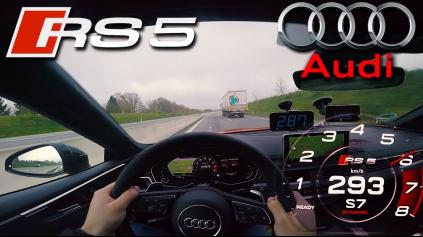 AUDI RS5 DOKÁŽE NA AUTOBAHNE TAKMER 300 KM/H