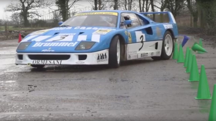 Šialené drifty na farme na vzácnom Ferrari F40 GT. Tax The Rich je späť!
