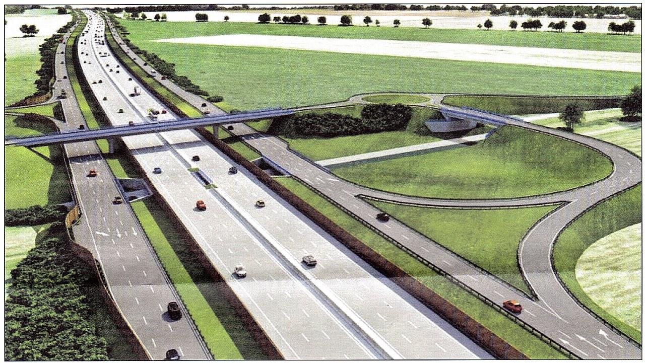 návrh pôvodného riešenia diaľnice D1 so zbernými kolektormi